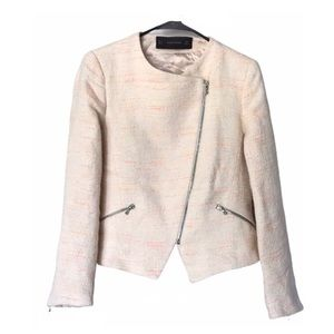 Zara Cream Cropped Bouclé Blazer Asymmetrical Zip
